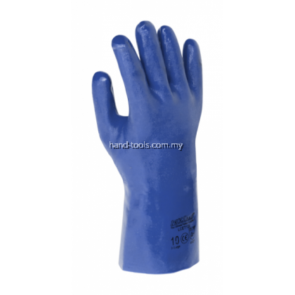 "12"" Blue Colour PVC Coated Gloves"