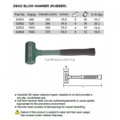 35MM Rubber Dead Blow Hammers 260mm (lenght)