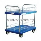 TAHAN PVC PLATFORM TWO TIER HAND TRUCK 900MM (L) X 600MM (W) 300KG (MAX. LOAD) WITH PROTECTIVE MESH