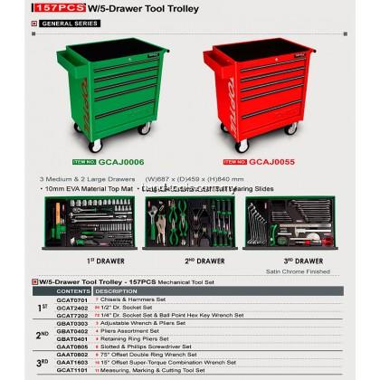 W/5-Drawer Tool Trolley – 157PCS Mechanical Tool Set (GENERAL SERIES) GREEN–(GCAJ0006)