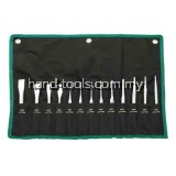 SATA-09164 13 Pc. Punch and Chisel Set 2 - Center Punches 4, 5mm  1 - Drift Punch 3mm  6 - Pin Punches 2, 3, 4, 5, 6, 8mm  1 - Cape Chisel 5mm  3 - Flat Chisels 12, 15, 18mm