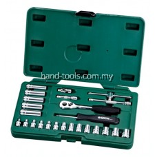 "Sata 09001 25PC 1/4"" DR. SOCKET SET (METRIC)14 - 6pt. Metric Sockets 3.5, 4, 4.5, 5, 5.5, 6, 7, 8, 9, 10, 11, 12, 13, 14 mm"