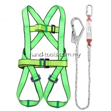 SAFETY HARNESS  With Shock Absorber Features: Alloy steel carabiner 100% polyester belt Adjustable tight strap Big forged snap hook Application: For fall protection on construction site