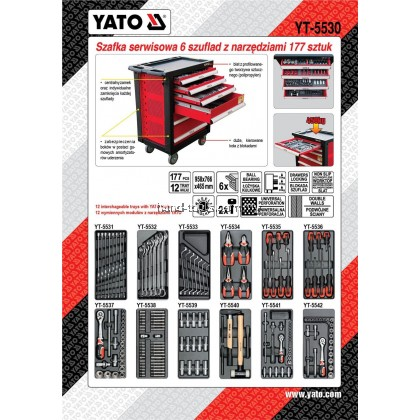 Yato YT-5530 Roller Cabinet with 177pcs Tools 6-Drawers