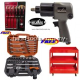 "MR MARK mk-eqp-5026 1/2"" TWIN HAMMER PROFESSIONAL DR.AIR IMPACT WRENCH +MR MARK MK-4631 31PCS DR.SOCKET WRENCH+WORKER 3 LAYERS TROLLEY+WORKER WK-8807 6 PCS GO-THROUGHT S/DRIVER SET"