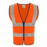 99-SV102R REFLECTIVE SAFETY VEST Red colour (ZIPPER FRONT)