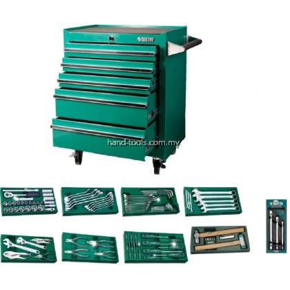 sata 95121p-5 140 PCS TOOLS SET WITH 5 DRAWER ROLLER CABINET