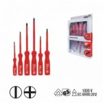 Wiha 00815 Classic Electric Slotted/ Phillips Screwdriver Set - Individually Tested Protective Insulation 1,000 V AC, VDE and GS Tested - 6 pcs