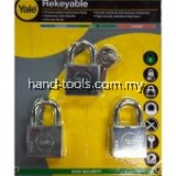 Yale Y118D/40/121/3 3 Pcs 40mm Chrome Square Disc Padlock