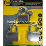 Yale Y118D/50/127/3 3 Pcs 50mm Chrome Square Disc Padlock