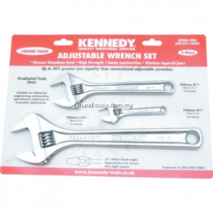 "KEN5011600K 4""/8""/12""CHROME FINISH ADJUSTABLE WRENCH SET"