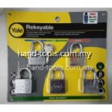YALE Y118D/40/121/5 5pce 40mm Chrome Plated Rekeyable Keyed Alike System Padlock