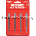 KEN5182300K 1.6, 2.4, 3.2 and 4mm. SQUARE HEAD NAIL PUNCH ESSET OF 4