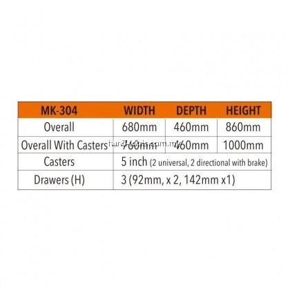 MR.MARK MK-EQP-0304 118PCS 3 DRAWER CHEST AND ROLLER CABINETS (ORANGE)