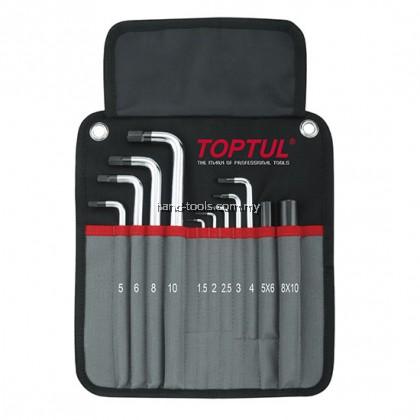 Toptul GPAQ1101 11pcs Heavy Duty Extra Long Type Ball Point Hex Key Wrench Set
