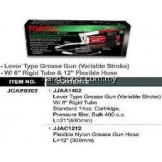 "TOPTUL JGAE0202 LEVER TYPE GREASE GUN (VARIABLE STROKE) - W/ 6"" RIGID TUBE & 12"" FLEXIBLE HOSE"