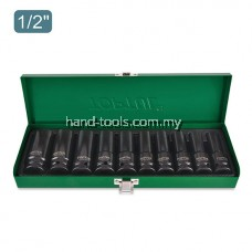 "TOPTUL GDAD1002 IMPACT SOCKET SET 1/2"" METRIC DEEP 10 PIECE"