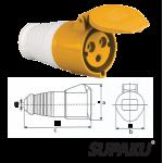 Supaku CEE 213-4 16A 110-130V IP44 Weatherproof Socket