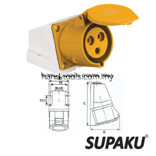 Supaku CEE 113-4 16A 110-130V IP44 Weatherproof Wall Socket