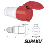 Supaku CEE 224 32A 380-415V IP44 Weatherproof Socket